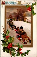 Christmas Greetings Postcard - Children - Sled - Snow Holly - Vintage - Posted