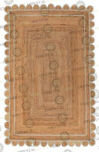 Scallop Jute Laurel Hand Made Rug,Bohemian Decor Inspire, Customize in Any Size