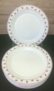 Vintage France arcopal red green square retro patt 10¼ inch Dinner Plates
