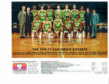 1970 1971 SAN DIEGO ROCKETS 8X10 TEAM PHOTO HAYES KIMBALL  BASKETBALL NBA