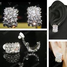 Clip on Big Huggie Rhinestone Crystal Encrusted Earrings Diamante Sparkly Silver