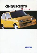 FIAT CINQUECENTO SPORTING prospetto i 10/94 brochure 1994 automobili auto auto prospetto