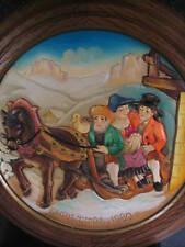 Anri 1980 Christmas Plate Wintry Church Going In Santa Christina
