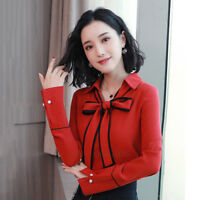 Fashion Women Bow Tie V Neck Chiffon Shirt Career Office Work Casual Blouse Tops