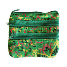 Green Alpana Silk Design Jewellery Cosmetic Make Up Pouch Bag