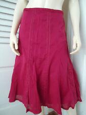 Katies Skirt 12 Red Boho Peasant Cotton Gored Flare Satin Ribbon Design Hippie