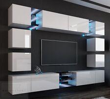 Wohnwand EDGE Anbauwand Mediawand Hochglanz Design LED Orion Weiß Concept  OVP