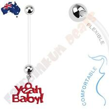 Bio flex Pregnancy Belly Ring with Red YEAH BABY! Dangle