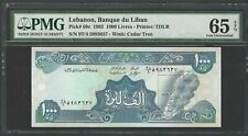 Lebanon 1000 Lira 1992 P69c Uncirculated Graded 65