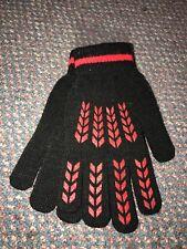 Vintage Totes Ladies Acrylic Spandex Stretch Gloves Black Red NOS Unused