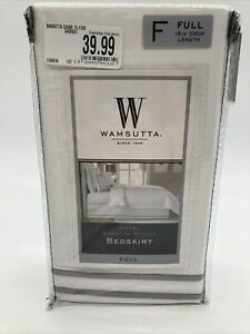 "Wamsutta Full Hotel Baratta Stitch Bedskirt 15"" Drop Length Charcoal 54"" x 75"""