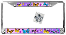 Butterflies Pink Purple Backdrop License Plate Frame Gifts Polished Metal TXT
