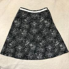 Karen Scott Sport Womens Skirt A-Line Flare Black White Floral Size 10