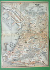 1900 MAP ORIGINAL Baedeker - Trieste in Italy