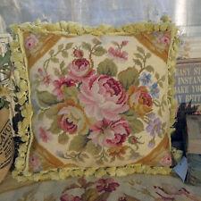 1.3' Tan Beige Vintage Rose Bouquet French Aubusson Design Needlepoint Pillow
