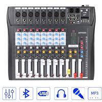 8 Channels Audio Mixer DJ Live Sound Mixing Console Bluetooth 3-Bands EQ T9S9