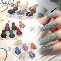 6Pcs Nail Art Powder Crystal Diamond Glitter Nails Decor Manicure Accessories HO