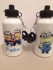 Minion  water bottle with personalised name boy/girl Ideal gift school SPORTS