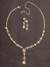 Collier Schmuckset Brautschmuck Perlen Braun Y Halskette mit Ohrringe Braut Neu