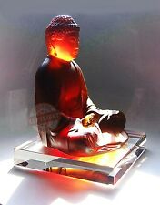 "DAUM CRYSTAL 10"" AMBER CLEAR SITTING BUDDHA ON STAND LTD 888 FRANCE SIGNED BOX"