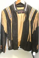 NEW Unisex DC J4 West Black/Brown Fringe Leather Jacket Small Zip-Up Style 1893