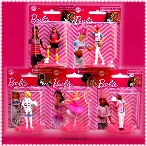 "5 Barbie Dolls SOCCER BASEBALL ASTRONAUT BALLERINA CHEF on Stand 2.5"" to 3"""