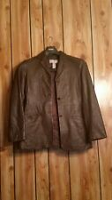 LIZ CLAIBORNE  women  brown  leather 3 button down  jacket sz 4