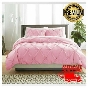 Pintuck Pinch Pleat Duvet Cover 100% Poly-Cotton Bedding Set with 2 Pillowcases