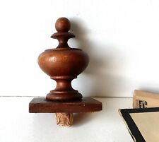 Small antique turned wood post finial end cap Salvaged Reclaimed topper 2.99 in