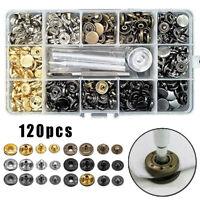 120 Set Metallo Bottoni Automatici Popper a Pressione per pelle Vestiti Giacca