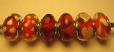 6 Lots Authentic Pandora Silver 925 Ale Fascinating Red Sweetheart Beads Charms