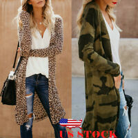 US Women Loose Long Sleeve Cardigan Leopard Kimono Shawl Tops Blouse Coat Jacket