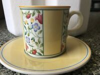 "Villeroy & Boch Virginia Germany Flat Coffee Tea Cup Cups Saucer Set 2 7/8"" MINT"
