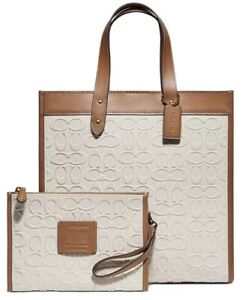 ❤️ Coach Signature Field 89165 Canvas Light Saddle/Gold Tote