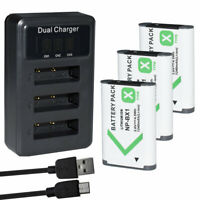 3x Battery +USB LED Charger for Sony NP-BX1 X-Series Sony Vlog Camera ZV-1 ZV1