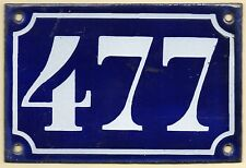 Old blue French house number 477 door gate plate plaque enamel metal sign c1900