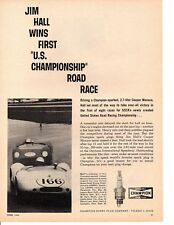 1963 JIM HALL @ U.S. CHAMPIONSHIP ROAD RACE ~ ORIGINAL CHAMPION AD