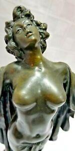 "Victorian Bronze Nude Sculpture SPRING AWAKENING Preiss BEAUTIFUL WOMAN 15"" Tall"