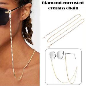Damen Sonnenbrillemit goldener Brillenkette und Perlenbesetztem Umhänge
