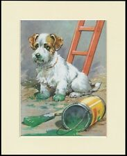 SEALYHAM TERRIER AND GREEN PAINT LOVELY DOG PRINT MOUNTED READY TO FRAME