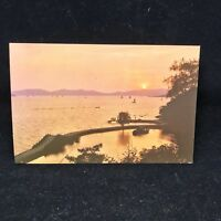 Vintage Post Card Sunset On Lake Tai China