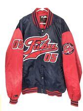 Vintage FUBU Men's XXL Varsity Jacket Satin Bomber Quilted Lining Blue Red