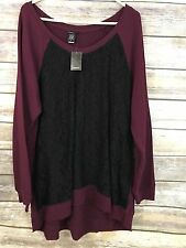 Torrid sz 3X womens plus sz top shirt NWT Burgundy with black lace career work