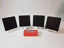 4 x dessus de table Chalkboards + 4 Shabby Chic Blanc Lavé chevalets + craies code C31