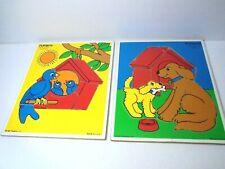 Vintage 1985 Playskool Tray Puzzles Dogs Birds