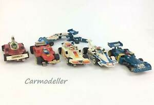 Aurora AFX - 5 G-Plus HO Formula 1 slot cars  - as is for parts or repair only