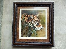 """Original Oil Painting """"PANTHER"""",Signed by Marva E Simpson,Framed,size 5""""X 5 3/8"""""""