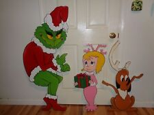 HAND  MADE 3-PIECE. GRINCH, MAX, AND CINDY LOU CHRISTMAS YARD ART