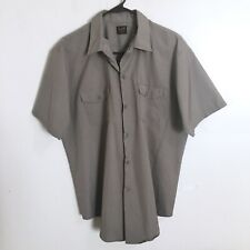Lee VTG Utility Work Shirt Mens Size 16.5 M Gray Button Down Front Short Sleeves