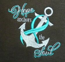 Teal Ribbon ANCHOR SOUL Sweatshirt 2X Breast Cancer Brown Crew Neck New